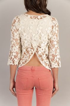 lace back and coral jeans
