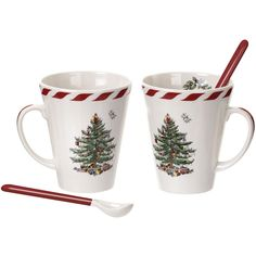 Spode Christmas Tree Set of 2 Peppermint Mugs with Spoons ($50) ❤ liked on Polyvore featuring home, kitchen & dining, drinkware, spode, twin pack, cocoa mugs, spode mugs and chocolate mug