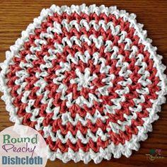 Round Peachy Dishcloth