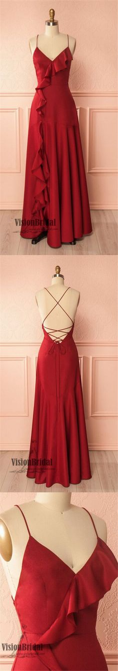 Red Spaghetti Straps Crisscross Back A-Line Long Prom Dress, Charming Prom Dress, Prom Dresses, VB0299 #promdress