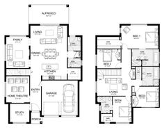 [Dream House] Allure 36 - Double Level - Floorplan by Kurmond Homes - New Home Builders Sydney NSW Family House Plans, New House Plans, Dream House Plans, House Floor Plans, Build My Own House, Building A House, Floor Plan With Dimensions, Double Storey House Plans, Pool House Designs