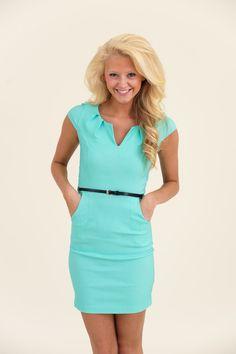 Office Affair Dress-Aqua - $40.00