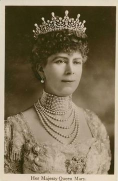 Queen Mary in 'The Girls of Great Britain and Ireland' tiara before the pearl spikes were removed.  This would be Queen Elizabeth II's Grandmother.