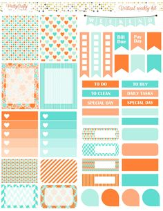 Orange and aqua weekly spread https://www.etsy.com/ie/shop/PrettyCraftyStickers?ref=hdr_shop_menu