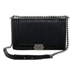 77ad4f1a60b2 Boy Chanel Flap Shoulder Bag Snake Leather A67087 Black -  309.00