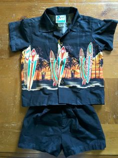 RJC Boys 2T black Hawaiian surf board 2 pc. Shirt & shorts #RJC #CasualParty