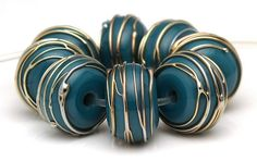 Handmade Lampwork Bead Set Teal with Gold Trails SRA