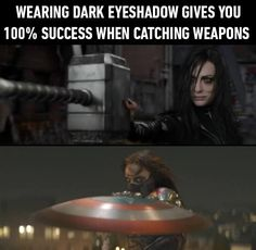 Dark Eyeshadow gives you success at catching weapons. Thor and Captain America.