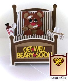 Get Well Bear Card In A Box 3D SVG van MyCasualWhimsy op Etsy, $1.99