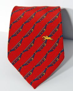 LONGCHAMP - Fabulous Red Silk Necktie for Men by by 2goodponiesvintage on Etsy, $29.00