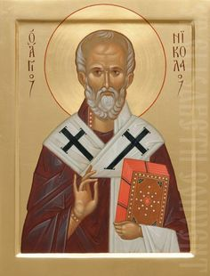 A painted icon of St Nicholas the Wonderworker. This icon is decorated with various shades of gold leaf. We can also make an icon case and a metal or textile oklad for this icon Byzantine Icons, Byzantine Art, Religious Icons, Religious Art, Fortune Cards, Church Icon, Paint Icon, Religious Paintings, Saint Nicholas