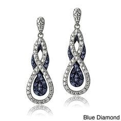 Silvertone 1/4ct TDW Black or Blue Diamond Intertwining Infinity Dangle Earring