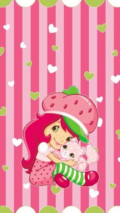Strawberry Shortcake Pictures, Strawberry Shortcake Doll, Hello Kitty Wallpaper, Kawaii Wallpaper, Cartoon Drawings, Cartoon Art, Wallpaper Backgrounds, Iphone Wallpaper, Simple Wallpapers