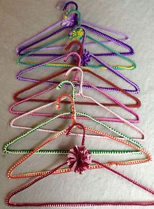 Vintage Lot 10 Crochet Non Slip Wire Clothes Hangers in Great Condition Pom Poms | eBay