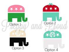 Monogram Sticker Elephant Republican by PreppyandProud on Etsy