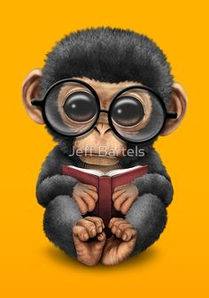 Cute Baby Chimpanzee Reading a Book on Yellow | Jeff Bartels