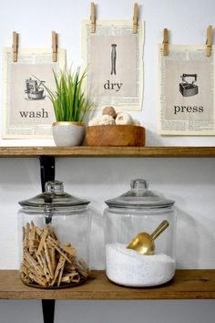 Create your own farmhouse style with a DIY laundry soap jar on a wood stain shelf. Laundry Shelves, Laundry Room Storage, Wood Shelves, Laundry Detergent Storage, Kitchen Organization, Laundry Pods, Laundry Decor, Laundry Room Design, Farmhouse Laundry Room