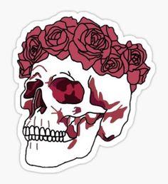 Pegatina Rose Skull