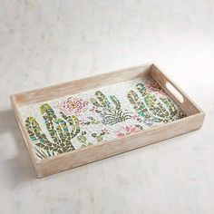 Pier 1 Imports Cactus Scene Mosaic Tray. Serve up margaritas or cocktails out on the patio with this tray. #ad
