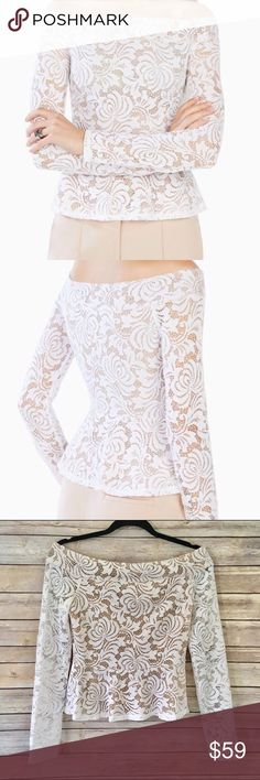 BCBG Max Azria Lace Peplum Top NWOT Stunning white lacy peplum by BCBGMAXAZRIA. Gorgeous construction, boat neck, long sleeves and flattering peplum silhouette. Fits true to size. No trades, please. Offers welcome! BCBGMaxAzria Tops Blouses