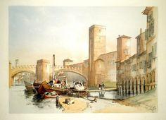 HARDING JAMES DUFFIELD - The Old Castle & Bridge at Verona - 1834 - scorcio a  Castelvecchio con barche sull'Adige.
