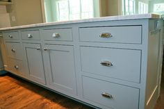 Our Home on County Road New Kitchen Inspiration Benjamin Moore - Fieldstone New Kitchen Inspiration, Home Decor Inspiration, Decor Ideas, Color Inspiration, Blue Bathroom Decor, Kitchen Decor, Kitchen Ideas, Blue Cabinets, Kitchen Cabinets