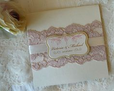Lace Wedding Invitation. Pink Wedding Invitation / Gold Wedding Invitation…