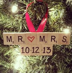 Mothers Day Crafts For Kids Discover Wedding Ornament Wedding Scrabble Ornament Engagement Ornament Wedding Christmas Gift Engagement Gift Scrabble Ornament Mr. Diy Christmas Ornaments, Homemade Christmas, Diy Christmas Gifts, Christmas Projects, Christmas Crafts, Christmas Decorations, Christmas Gift Newlyweds, Handmade Ornaments, Christmas Ideas