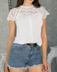 Crochet Lace Trim Splicing Casual Blouse Shop- Women's Best Online Shopping - Offering Huge Discounts on Dresses, Lingerie , Jumpsuits , Swimwear, Tops and More. Look Fashion, Womens Fashion, Latest Fashion, Lace Bodice, Blouse Styles, Casual Tops, Pattern Fashion, Crochet Lace, Blouses For Women