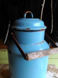 Oude Brocante Emaille Melkbus Melkkan Lichtblauw