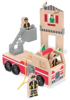 {Whittle World Wooden Fire Rescue Set}  These solid-wood pieces and open-ended activities echo traditional toys that have been enjoyed for generations; clean, modern styling and stringent safety testing offer the very best of today.