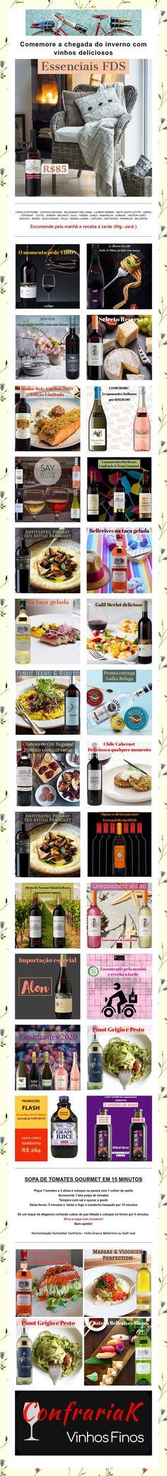 Sorteio & Inverno com vinhos deliciosos & Receita Gourmet Prize Draw, Wine Pairings, Winter Time, Recipes