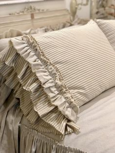 A Pair of Canvas Pillows Covers Stripe Light Brown Beige with Long Ruffles Bedding Decor Handmade French Country Farmhouse Wedding Birthday - Kissen Ideen - Cool Decorative Pillows Modern French Country, French Country Living Room, French Country Bedrooms, French Country Farmhouse, French Country Decorating, French Country Bedding, French Bedding, French Country Fabric, Bedroom Country