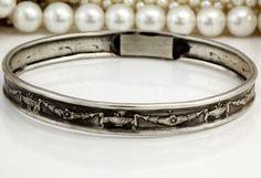 Antique C. 1880's Victorian Sterling Silver Laurel Wreath & Urn Bangle Bracelet! in Jewelry & Watches, Vintage & Antique Jewelry, Fine, Retro, Vintage 1930s-1980s, Bracelets | eBay