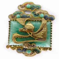 Vintage Art Deco Oriental Peking Glass Dragon Cloud Pin Brooch - Possibly Neiger | eBay