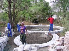 Building with sandbags in Botswana