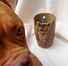 Kitchen Utensil Holder Ceramic Stoneware Owl on a tree ,Owl Vase ,houseware Vase or yarn bowl