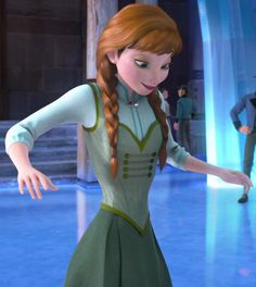 Anna, end of movie. Notice how she's wearing the same dress she wore when Elsa shot her with ice? Notice how she hasn't got the white stripes in her hair?