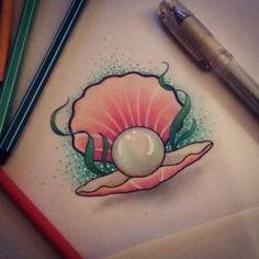 Oyster and pearl tattoo Shell Tattoos, Ocean Tattoos, Mermaid Tattoos, Body Art Tattoos, Tatoos, Nautical Tattoos, Arrow Tattoos, Word Tattoos, Desenho New School