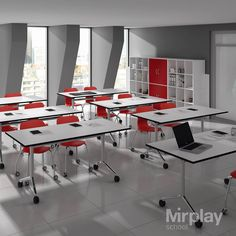 Mobliario escolar para aulas polivalentes. Mesa abatible Alufloop y silla con ruedas Mia Castors de Mirplay School.