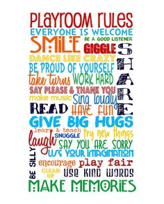 "Playroom Rules -Primary Colors on White NO PINK - Includes ""Playroom Rules"" on top - 16x20"" on Etsy, $35.00"