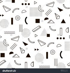 Vector Pattern With Black And White Geometric Shapes. Hipster Fashion Memphis Style. - 387219556 : Shutterstock