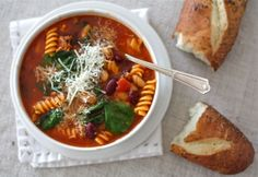 Make-ahead meals for new parents: Sausage, bean, pasta soup with spinach by Simple Bites Make Ahead Meals, Freezer Meals, Freezer Cooking, Bulk Cooking, Cooking Ideas, Cooking Recipes, Whole Food Recipes, Healthy Recipes, Yummy Recipes