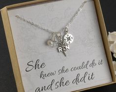 RN Registered Nurse Necklace Sterling by DivineJewelrybyMary