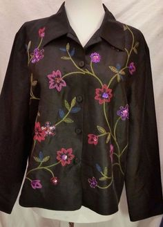 SLB Top Jacket Button down Shirt 100% Silk Black Embroidered Floral Womens 12 L #SLB #ButtonDownShirt #EveningOccasion