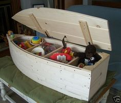 Wood Boat Toy Box Nautical Chest Hand Crafted Bookshelf