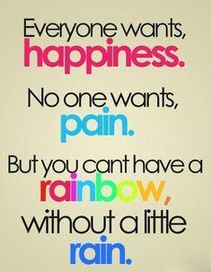 No rainbow without rain ;)