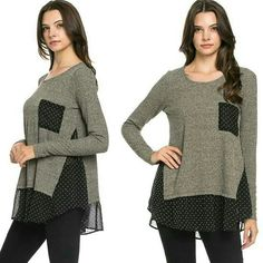 CUTE  POLKA DOT TOP How cute is this! Gray long sleeve knitted  top with black sheer with white polka dot bottom hem, sides, & front pocket ℹAvailable in S,M,L ℹMaterial is polyester & spandex ℹMade in USA Price is final PLEASE COMMENT SIZE & I WILL MAKE YOU A SEPARATE LISTING Tops Blouses