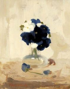 """Violets"" By James Stuart Park, from Scotland (1862 - 1933) - oil on canvas; 38 x 30 cm - Glasgow Museums"