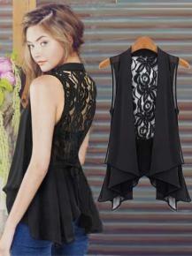 Wholesale Zanzea® Sheer Sleeveless Lace Chiffon Vest Tops